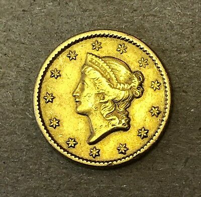 1851 $1 Liberty Head Type 1 Early Date Gold Coin. Circulated. Very Nice!!