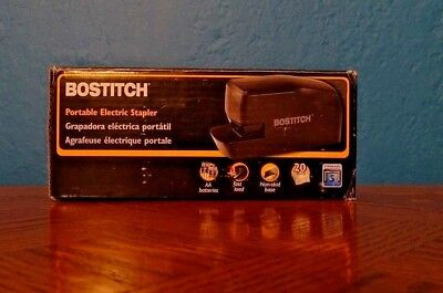 Bostitch Portable Electric Stapler, 20 Sheets, AC or Battery Powered, Black
