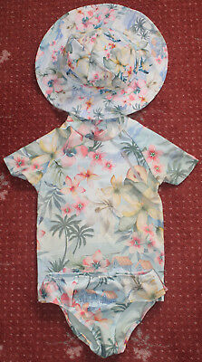 Hawaiian Print Sunsafe Two Piece Set plus hat by NEXT. Size 1½-2 years