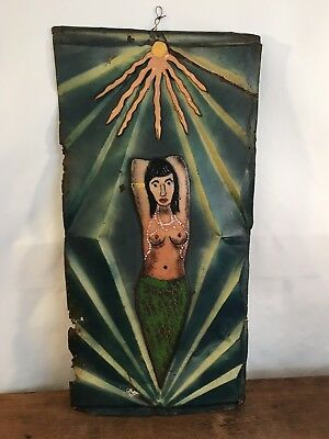 Antique Pressed Tin Roof Shingle Sun Mermaid Decorative Embossed Tin Wall Art