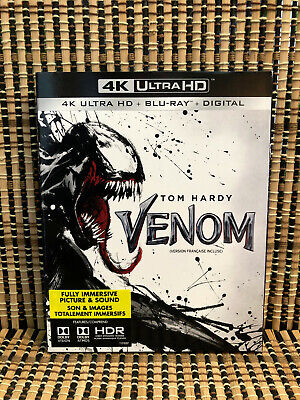 Venom 4K (1-Disc Blu-ray, 2019)+Slipcover.Marvel/Tom Hardy.Dir<Zombieland>