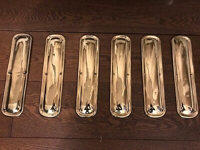 Original Antique Pressed Brass Finger Plates x 6