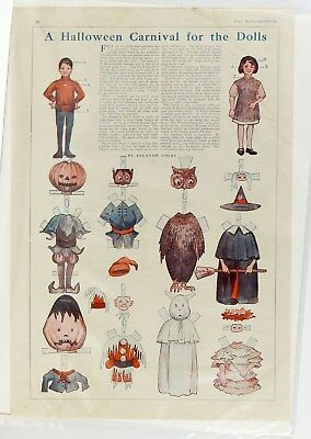 Halloween Paper Dolls Witch Ghost Jack O Lantern Vintage Antique 1911