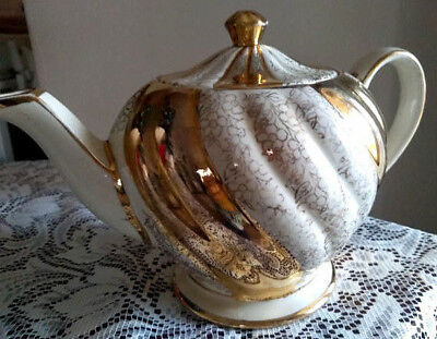 Old Antique Sadler Teapot Gold and Cream