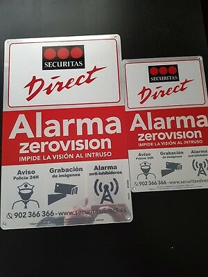 Placa alarma disuasoria grande + mediana securitas Direct. Modelo 2018