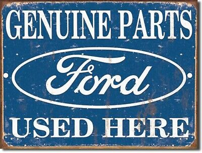 """Vintage FORD Genuine Parts Used Here Reproduction 9""""x12"""" Metal Tin Aluminum Sign"""