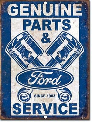 "Vintage FORD Genuine Parts & Service Reproduction 9""x12"" Metal Tin Aluminum Sign"