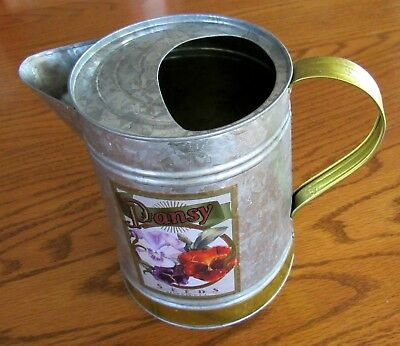 Vintage Galvanized  Brass Metal Watering Can Pansy Seeds USA