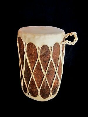 Native American Taos Pueblo Indian Log Drum Double-Sided Rawhide Skin - 12""