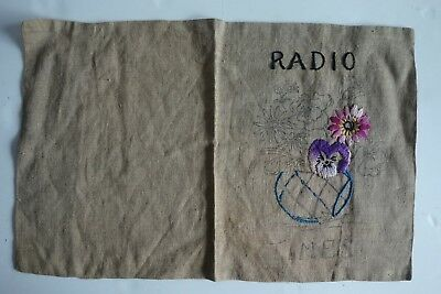 Vintage RADIO TIMES Linen Cover Unfinished Embroidery Pattern Transfer Floral