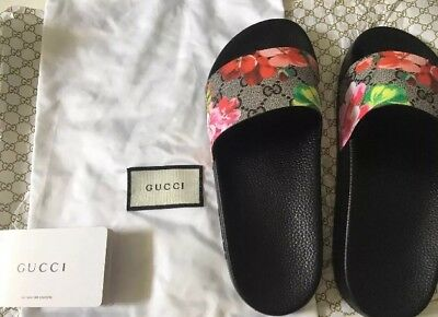 c6dc0707b060 WOMEN S GUCCI PURSUIT Floral Bloom Slides GG US SZ 7 Sandals ...