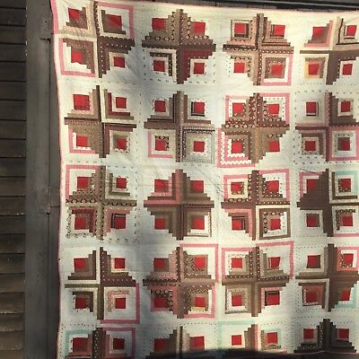 rags 1870's  COTTON LOG CABIN LARGE GOOD VARIETY OF FABRICS