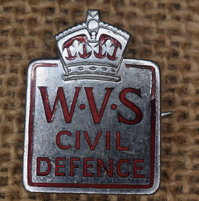 Vintage Collectible Royal WWII Women's Voluntary Service for Civil Defence Badge