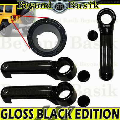 2007-2017 JEEP WRANGLER GLOSS BLACK Door Handle COVERS 2dr+Gas Filler+Tailgate
