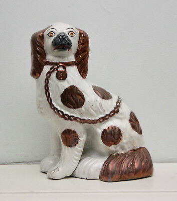 A Beautiful Antique c19th Staffordshire Spaniel Copper Lustre, Separate Leg