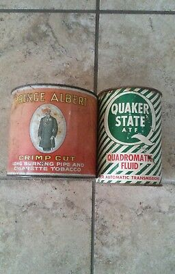 Quaker State Quad Fluid can and Prince Albert Tobacco Tin