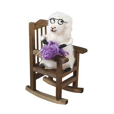 "Knitting Sheep with Glasses in Rocking Chair - 6 1/2"" Felted Wool Figurine"