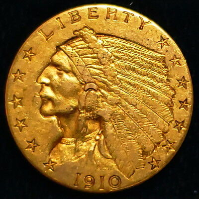1910 US American Indian Head Quarter Gold Eagle $2.5 Collector Coin 2IHQE1001