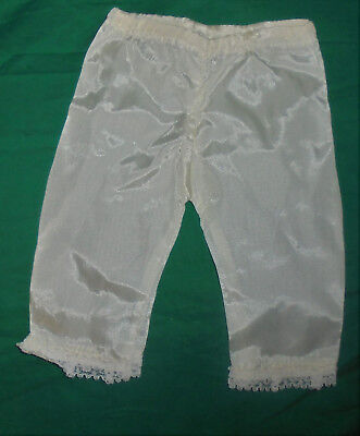 Vintage 1950's 1960's  Baby Doll Clothes White Satin Pants With Lace Hem