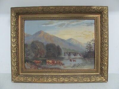 Antique Acrylic on Board Framed Painting Cattle cows in water rural scene