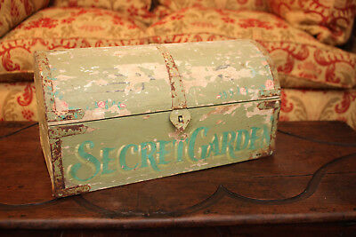 A Charming Antique Dome Topped Child's Play Chest, 'The Secret Garden'