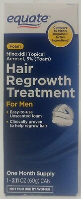 Equate Hair Regrowth Treatment For Men One Month Supply Foam EXP 12/17