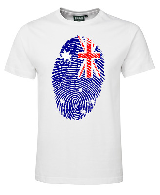 Adults Kids Australia day Souvenir T-shirt Straya day Tshirt Map fingerprint Tee