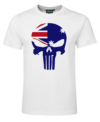 Adults Kids Australia day Souvenir T-shirt Straya Tshirt Distressed Skull map