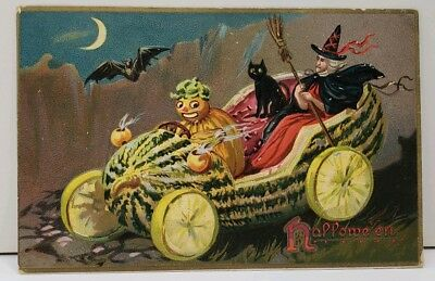 Halloween Tuck's Embossed JOL Witch Black Cat Watermelon Car 1908 Postcard D19