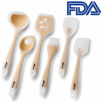 Chef Utensil Set 6 Piece Nonstick Silicone Kitchen Cooking Tools Heat Resistant