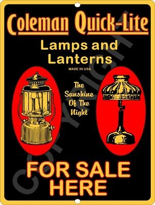 COLEMAN Reproduction Lamps & Lantern Quick-Lite Advertising Aluminum Sign 9x12