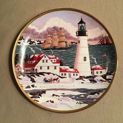 """Royal Doulton Plate """"Winter Seascape"""" Lighthouse Franklin Mint Numbered limited"""