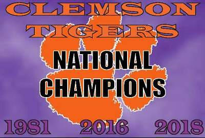 (2) Clemson Tigers National Champions 2018 Waterproof Vinyl Stickers Decal 5x3.7