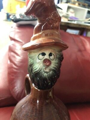"Vintage Hillbilly Jug 9 1/2"" Ceramic Head Bourbon & Brandy Decanter"
