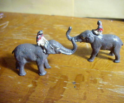 2 BRITAINS Made in England  Lead Toy FIGUREs of ELEPHANT TRUNK UP with Rider