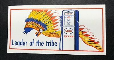 Carter Indian Chief  Oil Gas Advertising Blotter Mini Sign  Gasoline Pump Logo