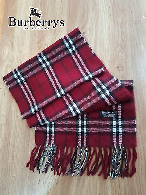 Burberry, Burberrys of London, Vintage, Pure Lambswool Scarf, Claret Nova Check
