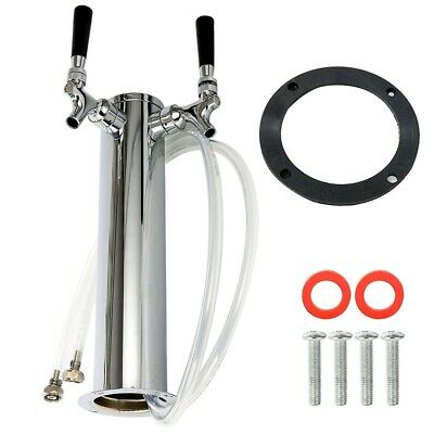 Double Stainless Steel Tower Beer Tap Two Faucet Draft Keg Kegerator Silver 3''
