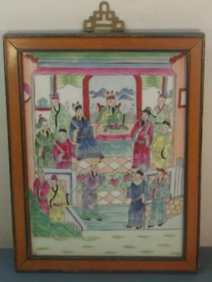 Antique Old Chinese Asian Republic Period Famille Rose Porcelain Panel Framed #2