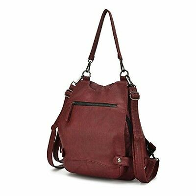Artwell Women Backpack Purse Convertible Ladies Rucksack Washed Leather WINE RED
