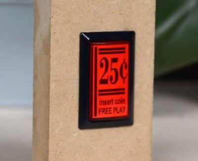 """(2) """"25 cent / insert coin / free play"""" Illuminating Pushbuttons for DIY Arcade"""