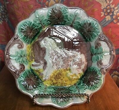 Antique Scalloped Edge Majolica Dog & Doghouse Platter in Perfect Condition