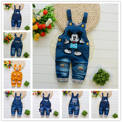 26 style Kids Baby Boys Girls Overalls Denim Pants Cartoon Jeans Casual Jumpers