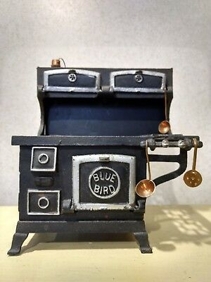 Blue Bird Cast Iron Stove Toy Salesman Sample Miniature w Accessories Vintage