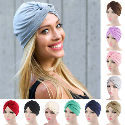 Solid Pleated Womens Cancer Chemo Hat Beanie Turban Head Scarf Wrap Cap Reliable