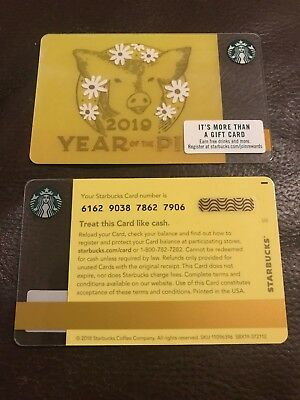 Rare Starbucks Chinese New Year 2019 Gift Card  Year of The Pig Print Mark
