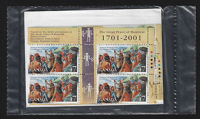 Canada — Set of 4 inscription Blocks — The Great Peace of Montreal #1915 — MNH