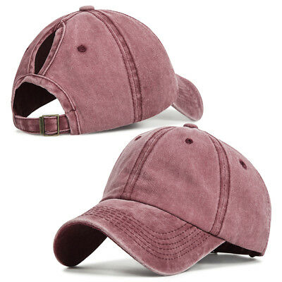 Women Ponytail Baseball Hat Messy Bun Winter Warm Breathable Hole Retro Ski  Cap 8fc65951126e