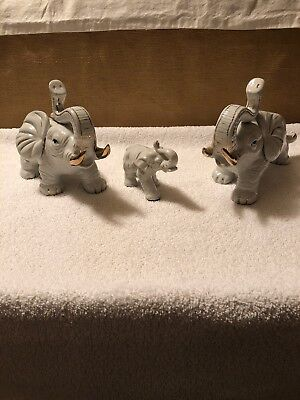 "10"" Ceramic Elephant Trunk Up Trumpeting White Gold Gilt Accent Parents & Baby 3"