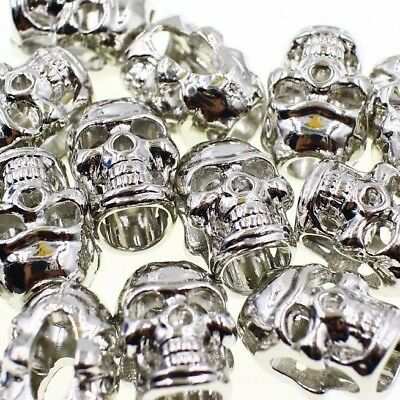 Metal Skull Bead 5pcs M Dull Silver Paracord Lanyards Bracelet Leather Jewelry